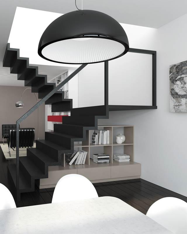 Amenagement sous-escalier décor argile