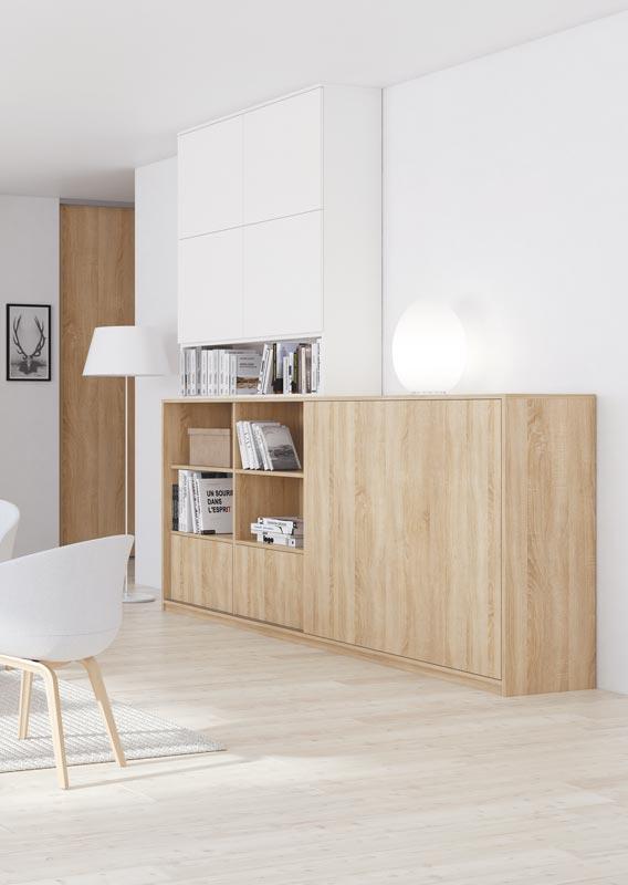 Meuble TV bibliothèque avec porte coulissante permettant de dissimuler la télévision