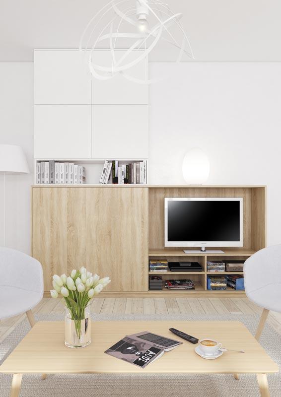 Meuble TV bibliothèque avec porte coulissante