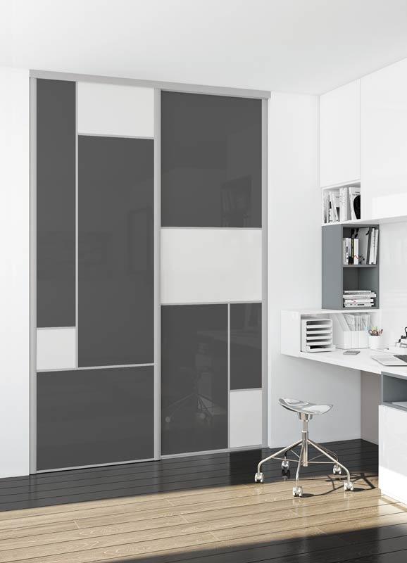 Portes de placard coulissantes modèle spécial vitre laquée gris foncé et vitre contrast white